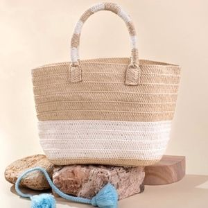 Altru Handwoven Double Handle Straw Tote